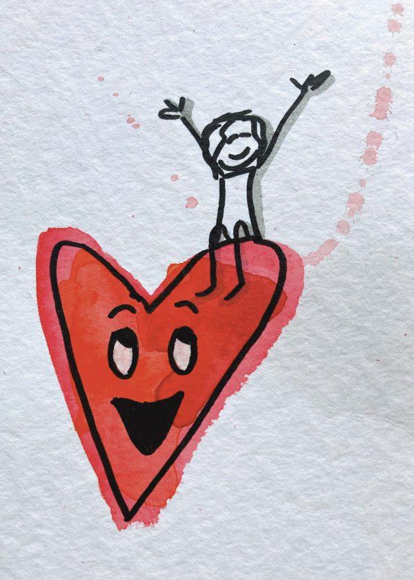 Copyright Doris Reich   Postkarte: Herzvergnügt